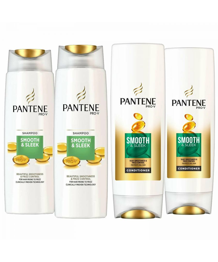 Image for Pentene Smooth & Sleek Shampoo 2 x 500ml & Conditioner 2 x 500ml