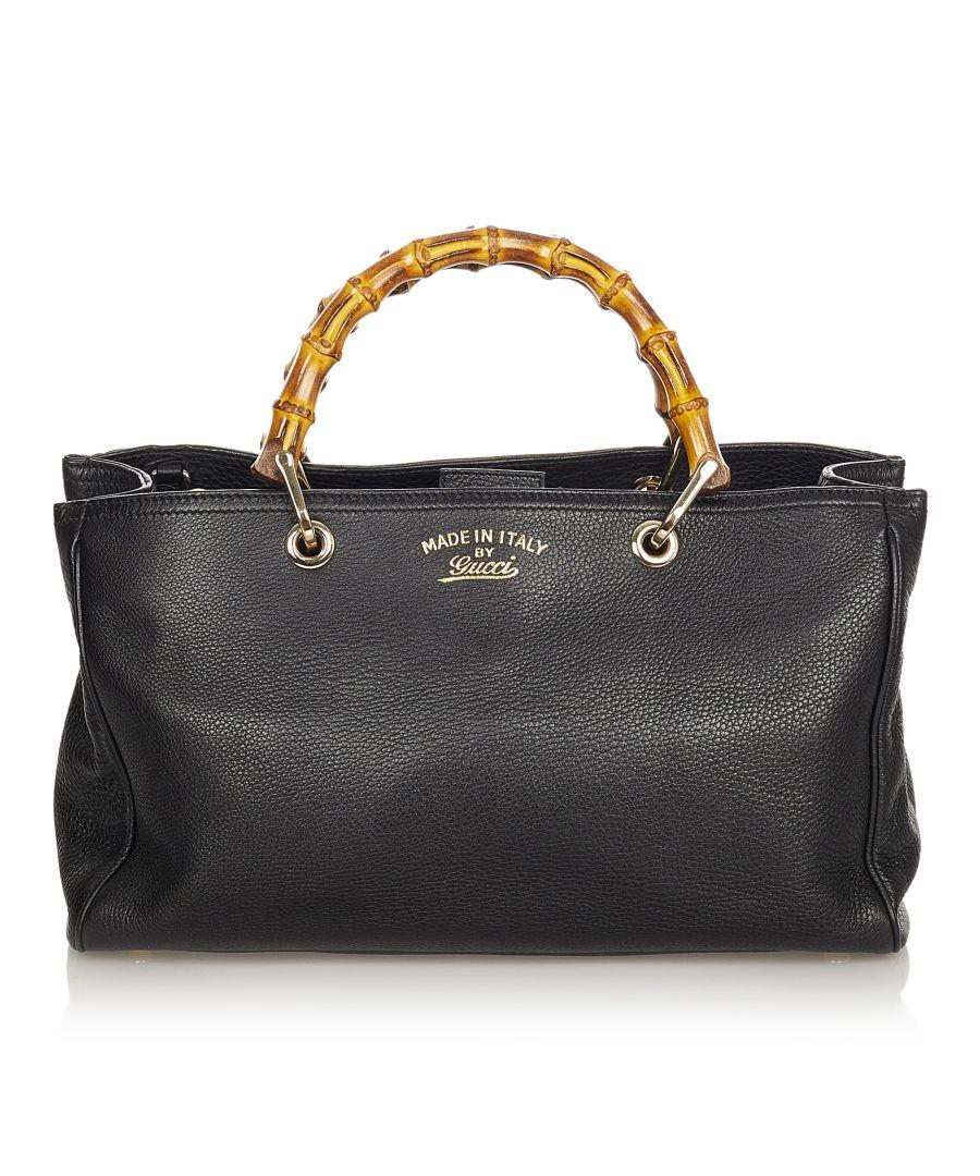 Image for Vintage Gucci Bamboo Shopper Leather Handbag Black