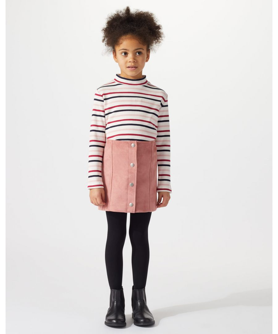 Image for Stripey Rib Polo Neck Jumper