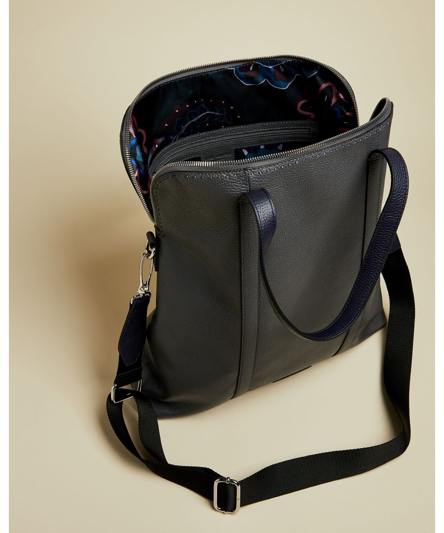 Image for Ted Baker Fabrik Leather Tote Backpack, Grey