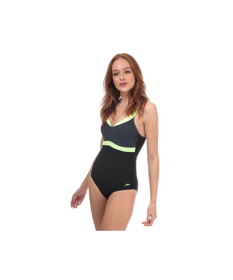 Image for Women's Speedo Sculpture Aquajewel Swimsuit in Black Grey