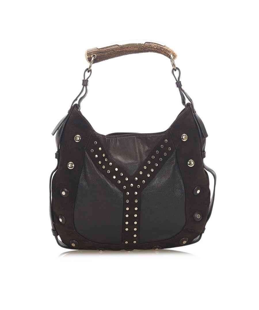 Image for Vintage YSL Studded Mombasa Suede Handbag Brown
