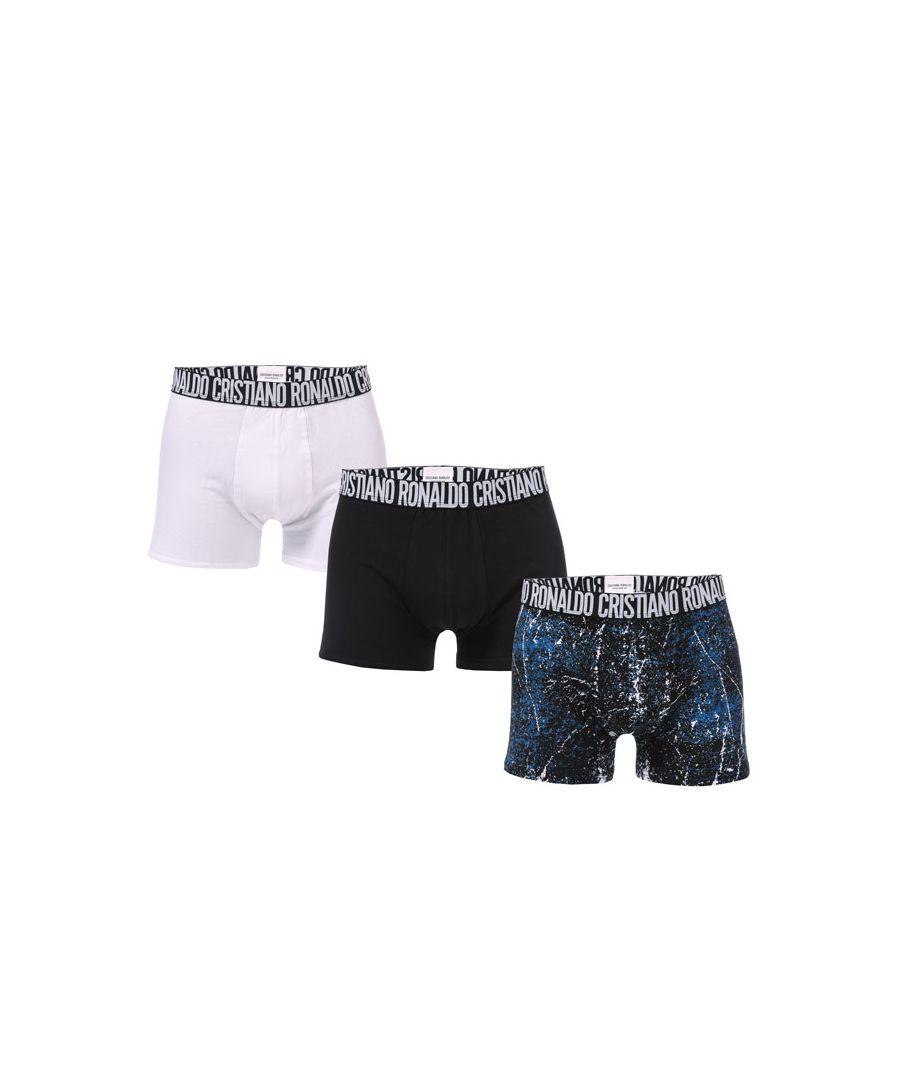 Image for Men's CR7 3 Pack Boxer Shorts in White Black