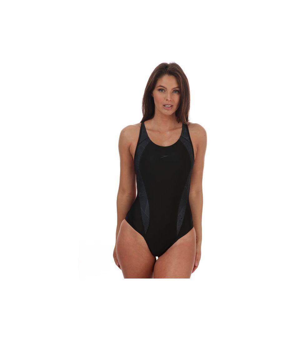 Image for Women's Speedo Fit Laneback Swimsuit Black Grey 8in Black Grey