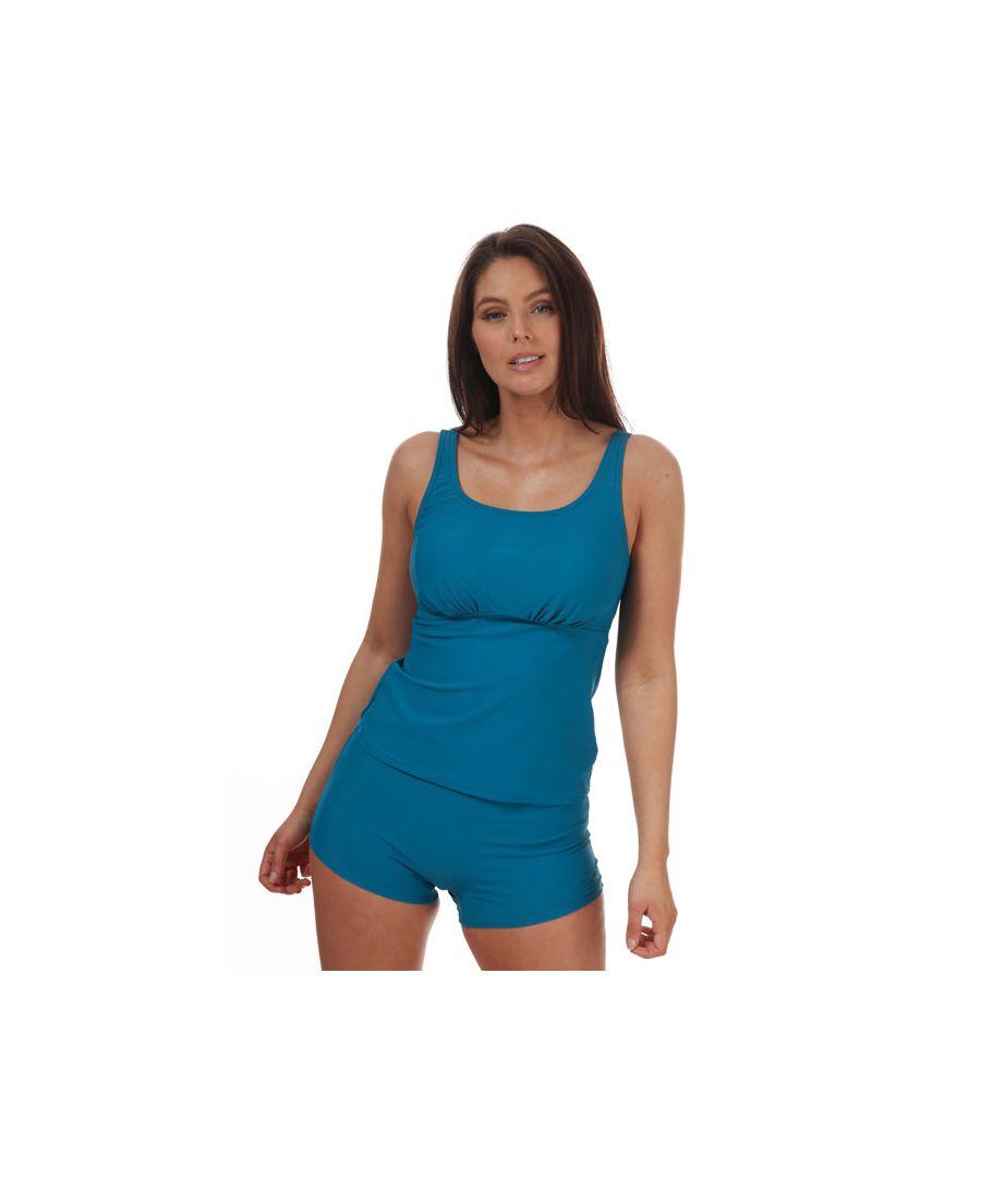 Image for Women's Speedo Scoopback Boyleg Tankini Blue 24in Blue