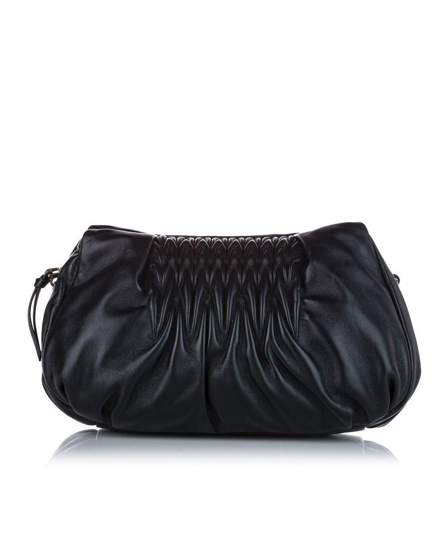 Image for Vintage Miu Miu Matelasse Nappa Shoulder Bag Black