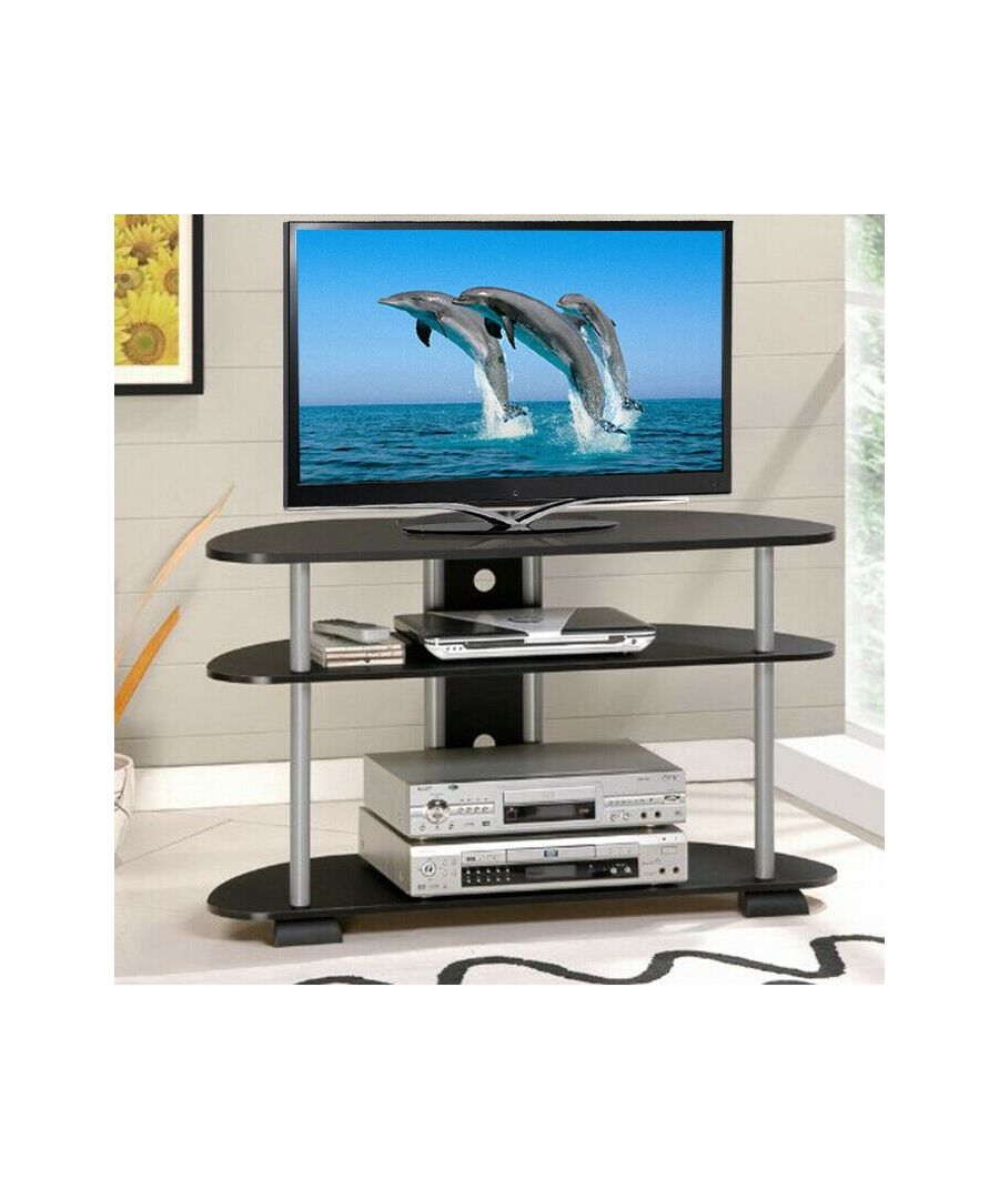 Image for Furinno Turn-N-Tube 3-Tier 42 TV Entertainment Center - Black with Grey Tubes