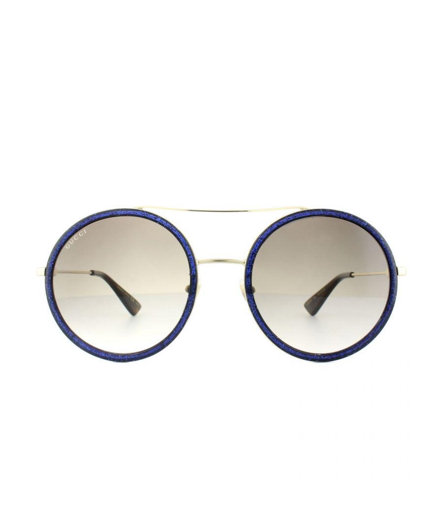 Image for Gucci Sunglasses GG0061S 005 Glitter Blue Brown Gradient