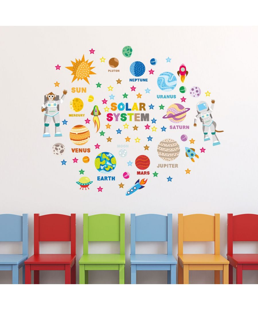 Image for Educational Solar System Adventure Self Adhesive DIY Wall Stickers Kids Room, nursery, children's room, boy, girl