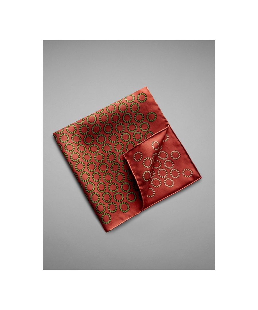 Image for Chain Circle Printed Silk Pocket Square
