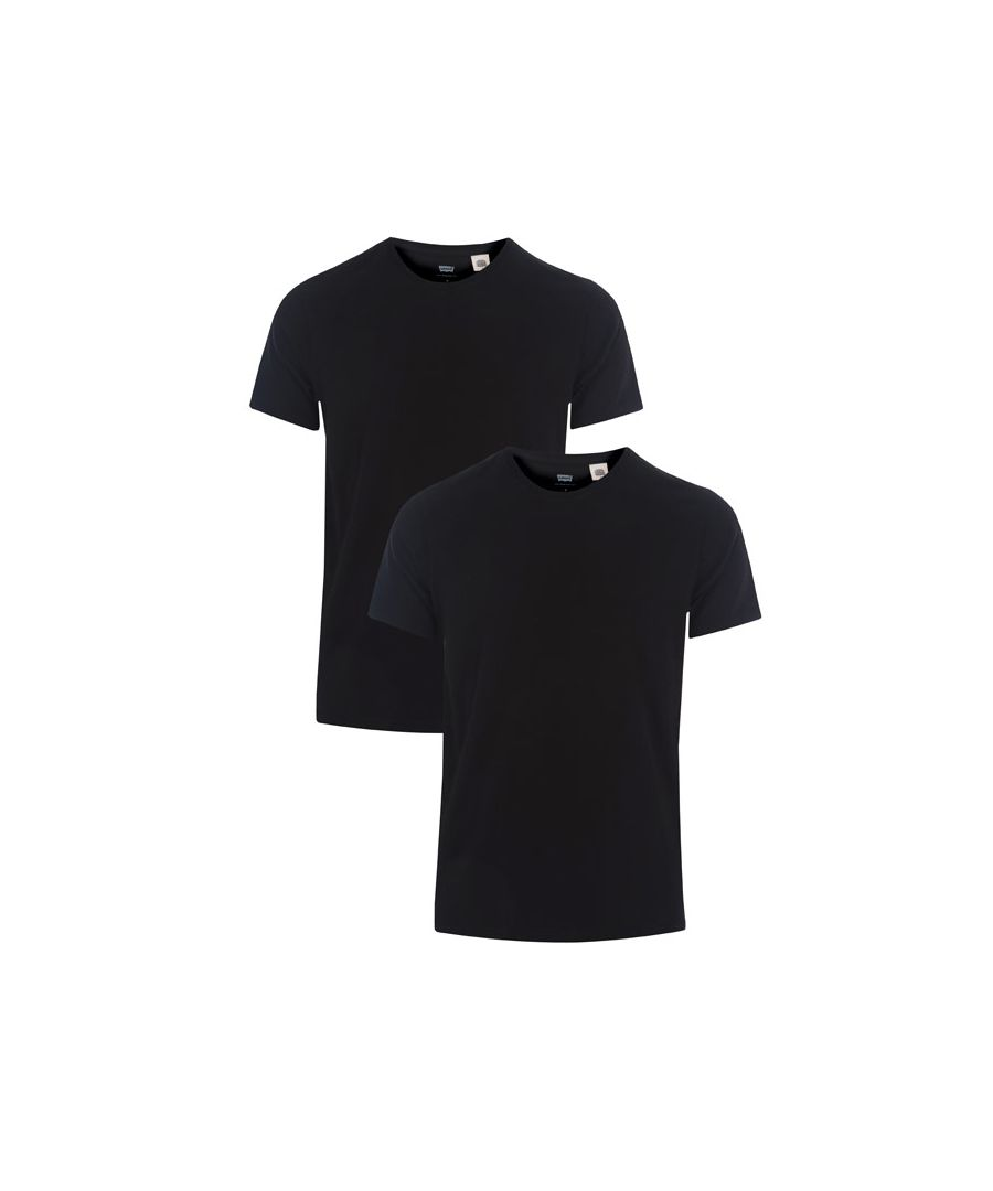 Image for Men's Levis Slim 2 Pack Crew T-Shirts in Black