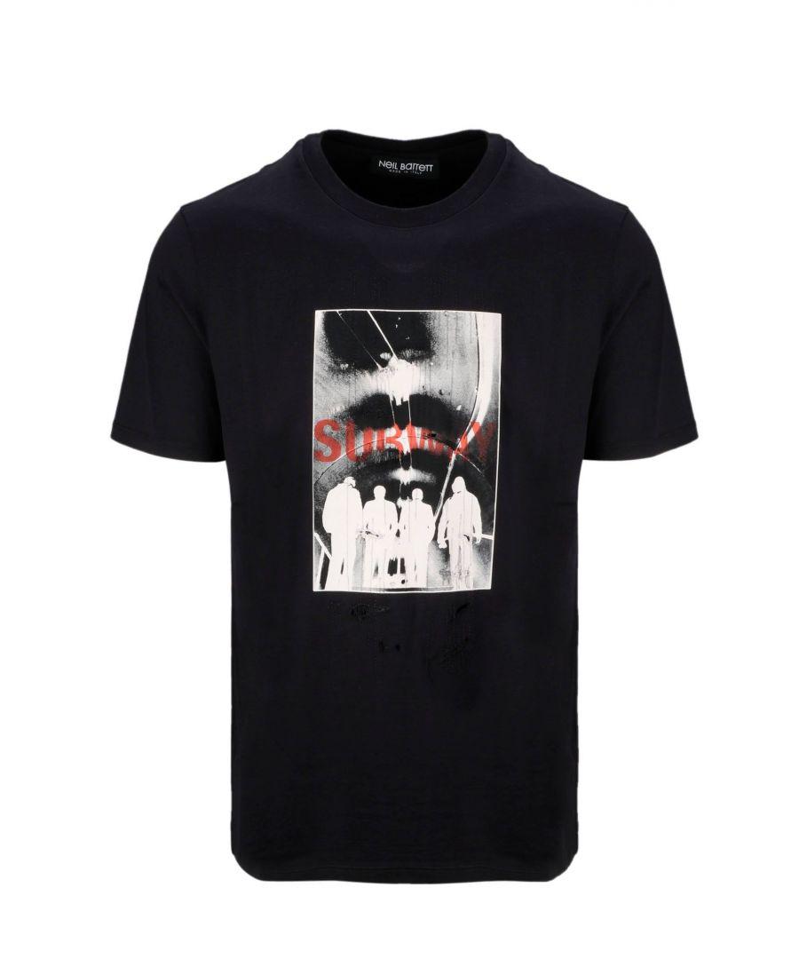 Image for NEIL BARRETT MEN'S BJT620SM575S01 BLACK COTTON T-SHIRT
