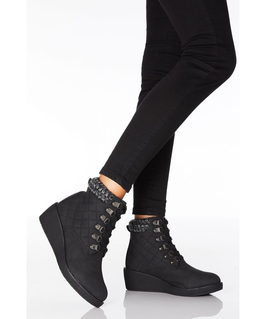 Image for Black Quilted Lace Up Wedge Ankle Boots