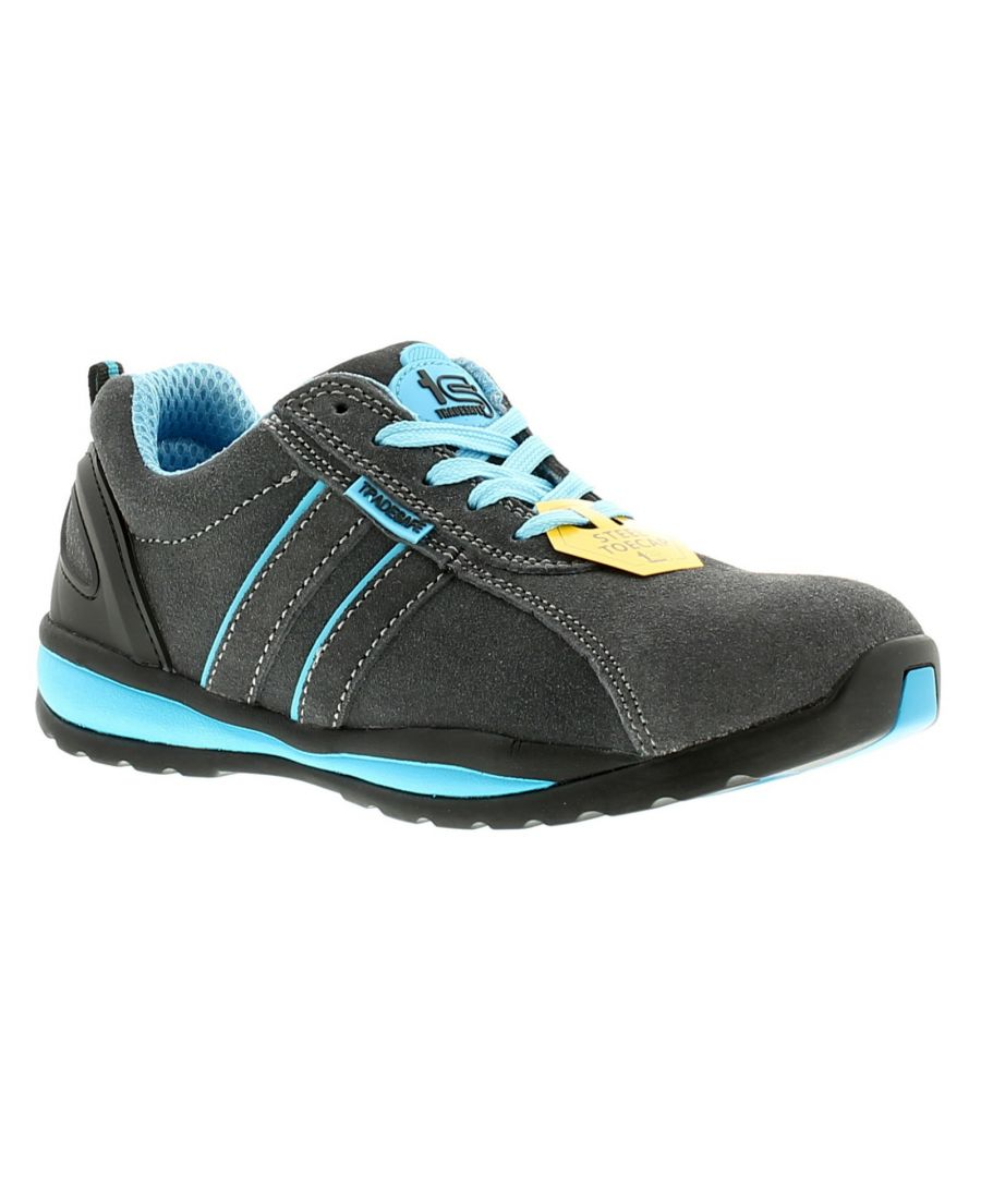 Image for New Ladies/Womens Grey/Blue Tradesafe Barge Lace Ups Safety Shoes.