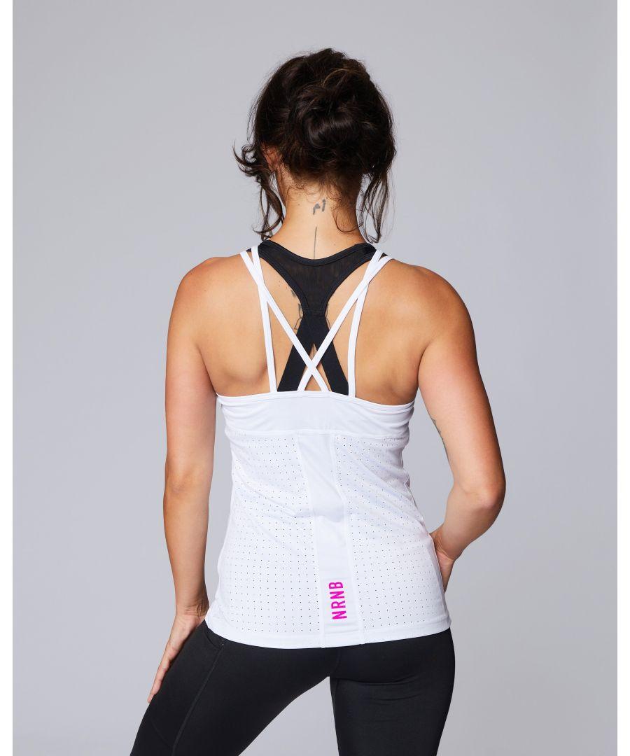 Image for Signature Flo Laser Cut Strap Vest in White
