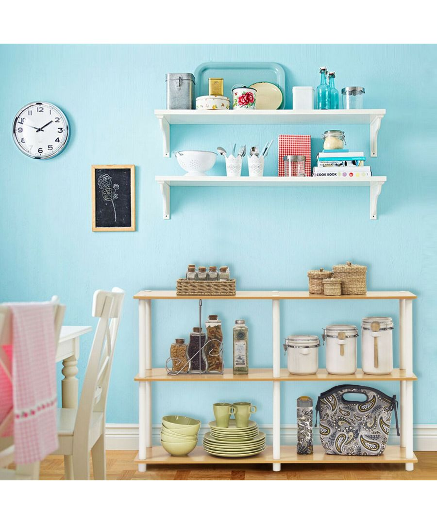 Image for Furinno Furinno Turn-N-Tube 3-Tier Double Size Storage Display Rack, Beech/WhiteWhite Turn-N-Tube 3-Tier Double Size Storage Display Rack