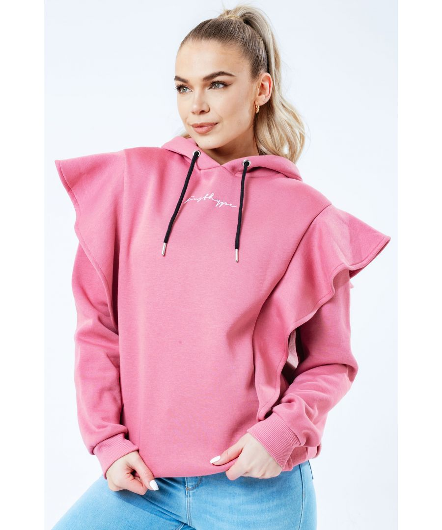 Image for Hype Blush Scribble Logo Frill Women's Pullover Hoodie