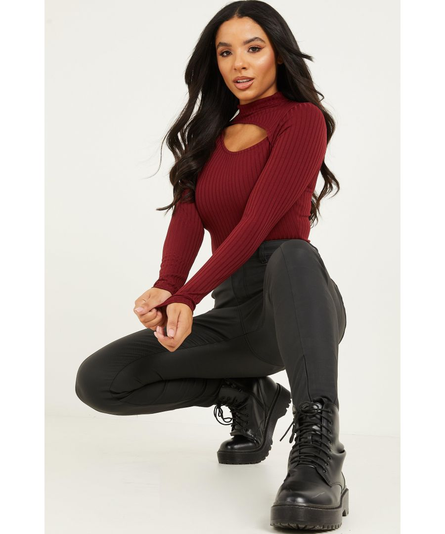 Image for Berry Ribbed Cut Out Bodysuit