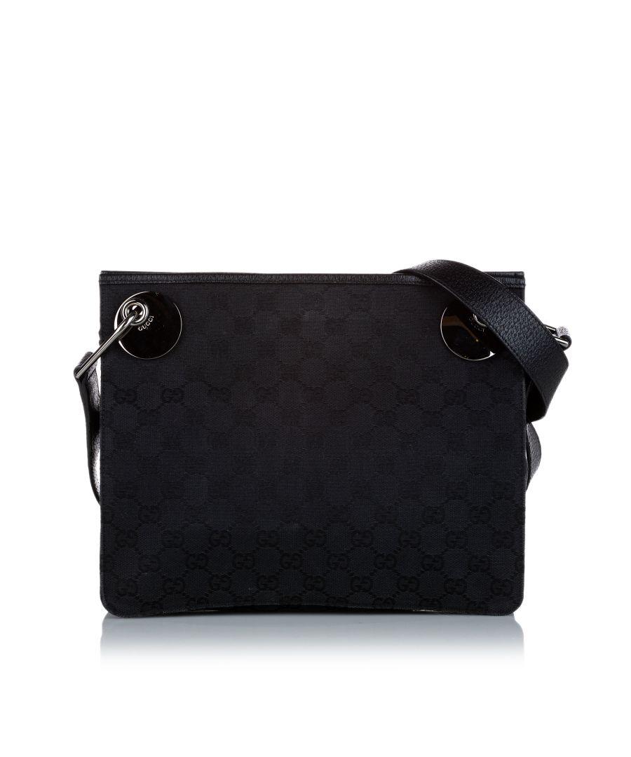 Image for Vintage Gucci GG Canvas Eclipse Crossbody Bag Black