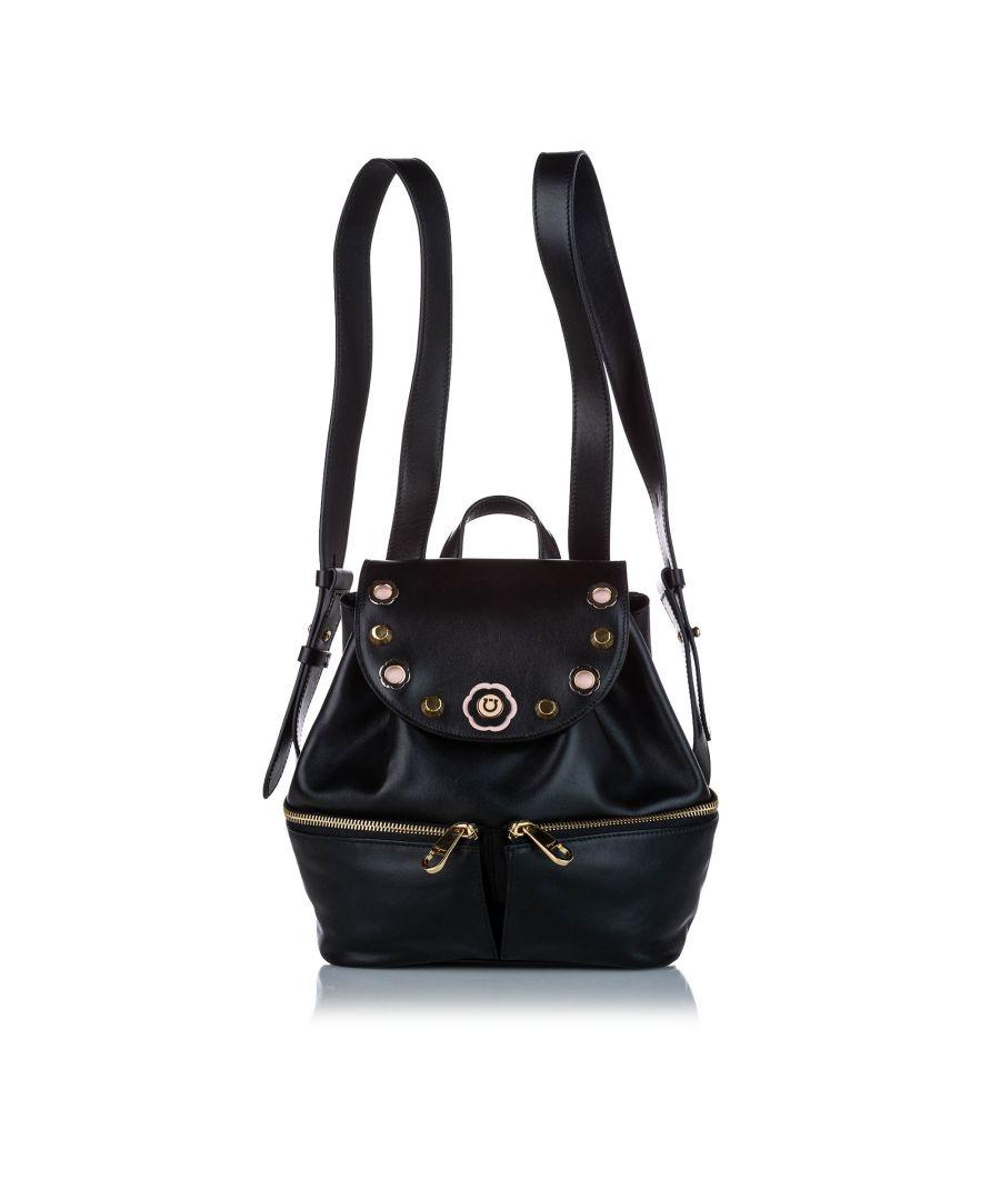 Image for Vintage Ferragamo Studded Leather Drawstring Backpack Black