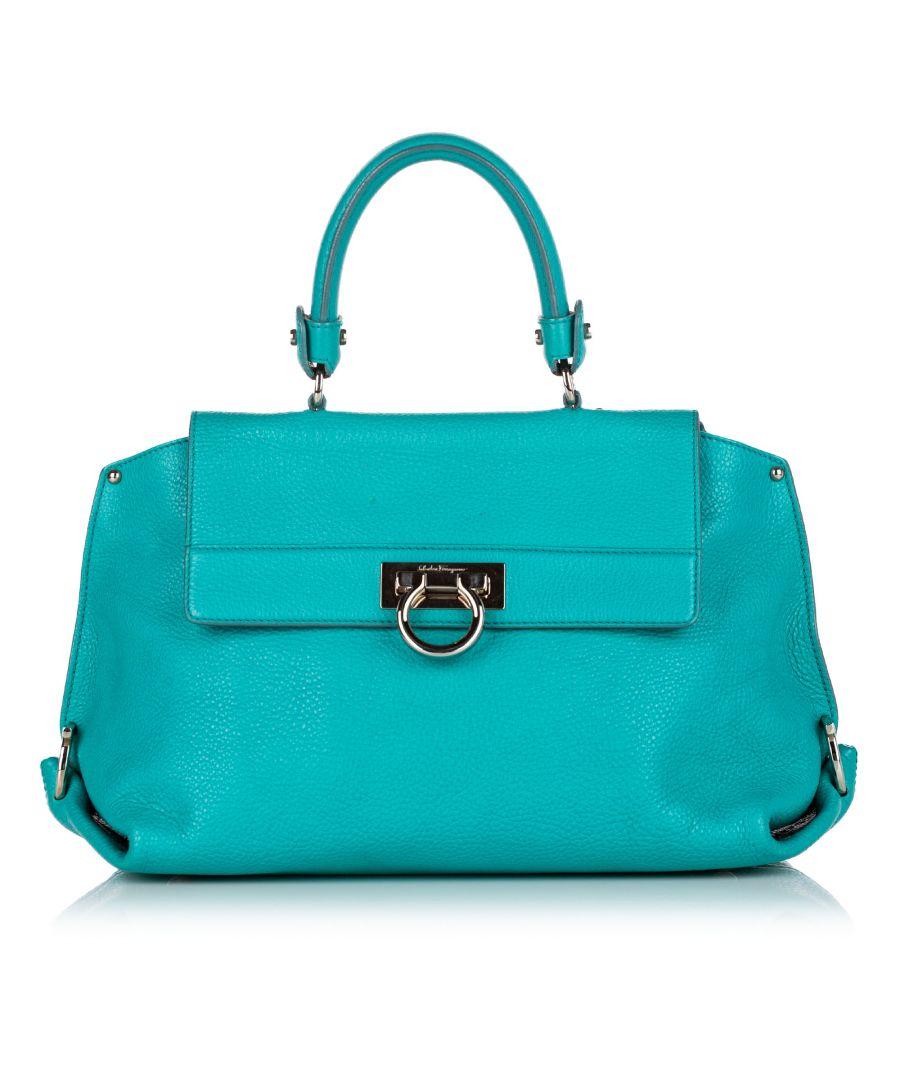 Image for Vintage Ferragamo Gancini Sofia Leather Satchel Blue
