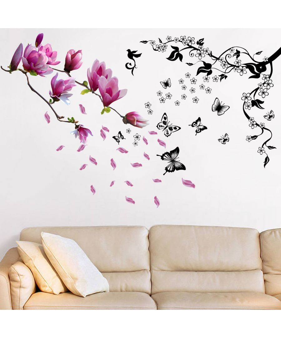 Image for Walplus Butteflies Vines with Colorful Magnolia Flowers Decals Home Decorations