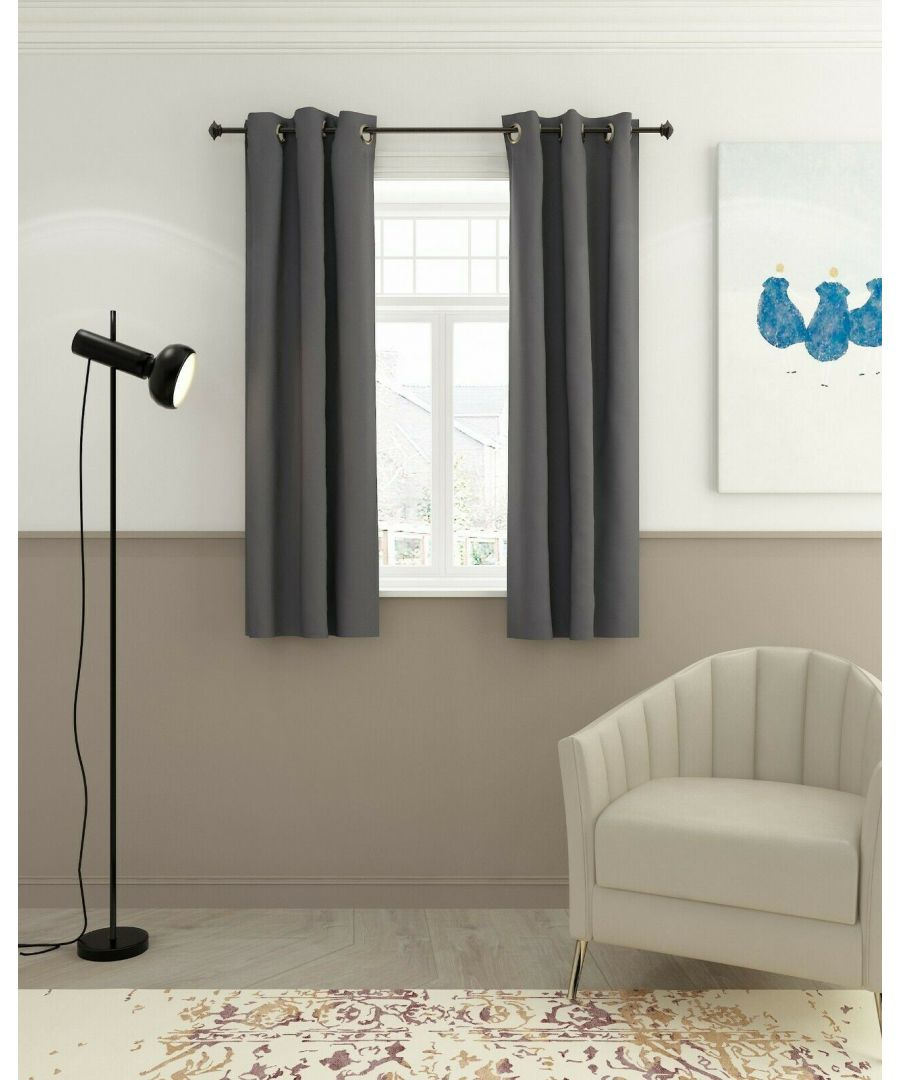 Image for Furinno Collins Blackout Curtain 42x63 in. 2 Panels, Dark Grey