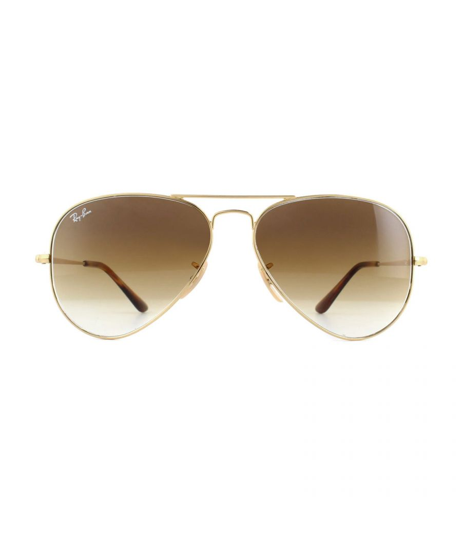 Image for Ray-Ban Sunglasses Aviator Metal II RB3689 914751 Gold Brown Gradient