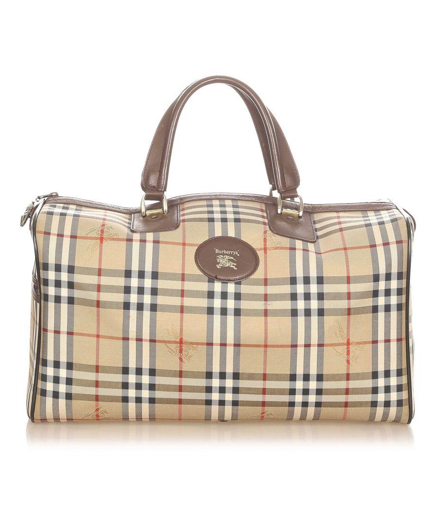 Image for Vintage Burberry Haymarket Check Canvas Travel Bag Brown