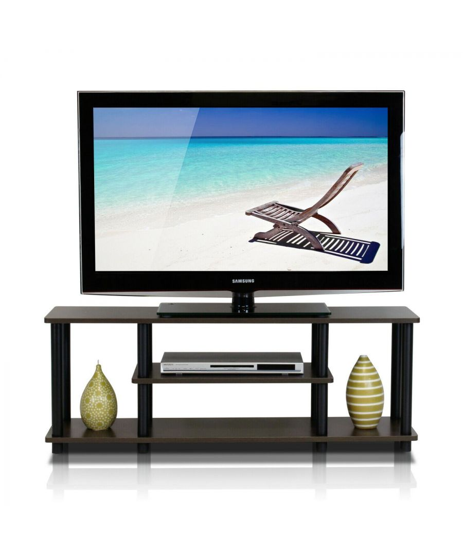 Image for Furinno Turn-N-Tube No Tools 3D 3-Tier Entertainment TV Stands, Dark Brown/Black