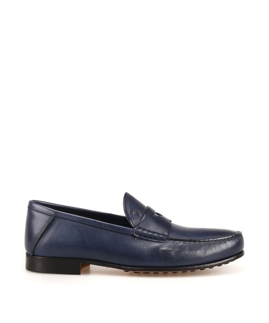 Image for TOD'S MEN'S XXM11A00010TUSU820 BLUE LEATHER LOAFERS