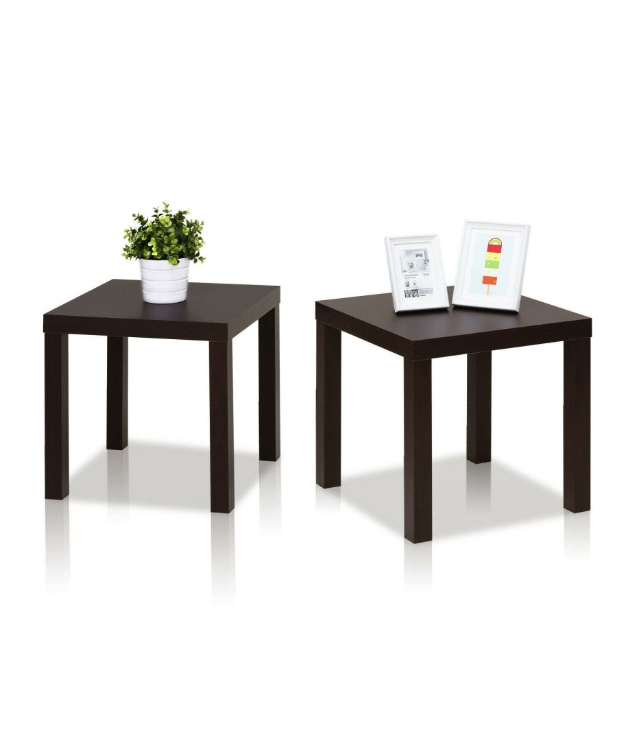 Image for Furinno  Classic Cubic End Table, Set of Two, Espresso