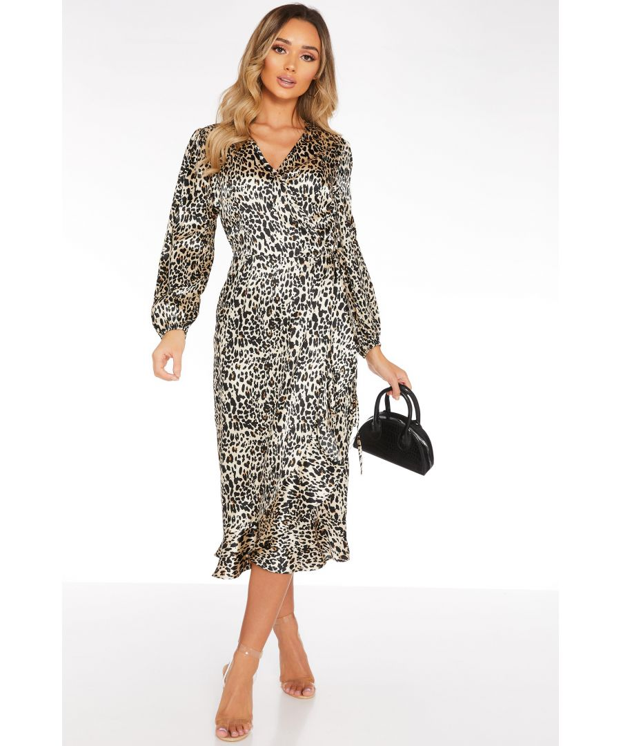 Image for Brown Satin Leopard Print Midi Dress