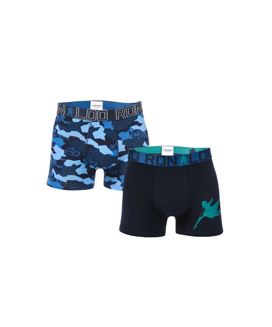 Image for Boy's CR7 2 Pack Boxer Shorts in blue navy