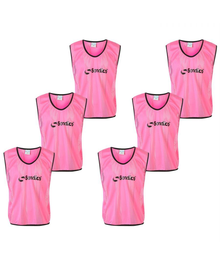 Image for Sondico Unisex 6 Pack Mesh Hi Viz Training Bibs Sports Lightweight Breathable