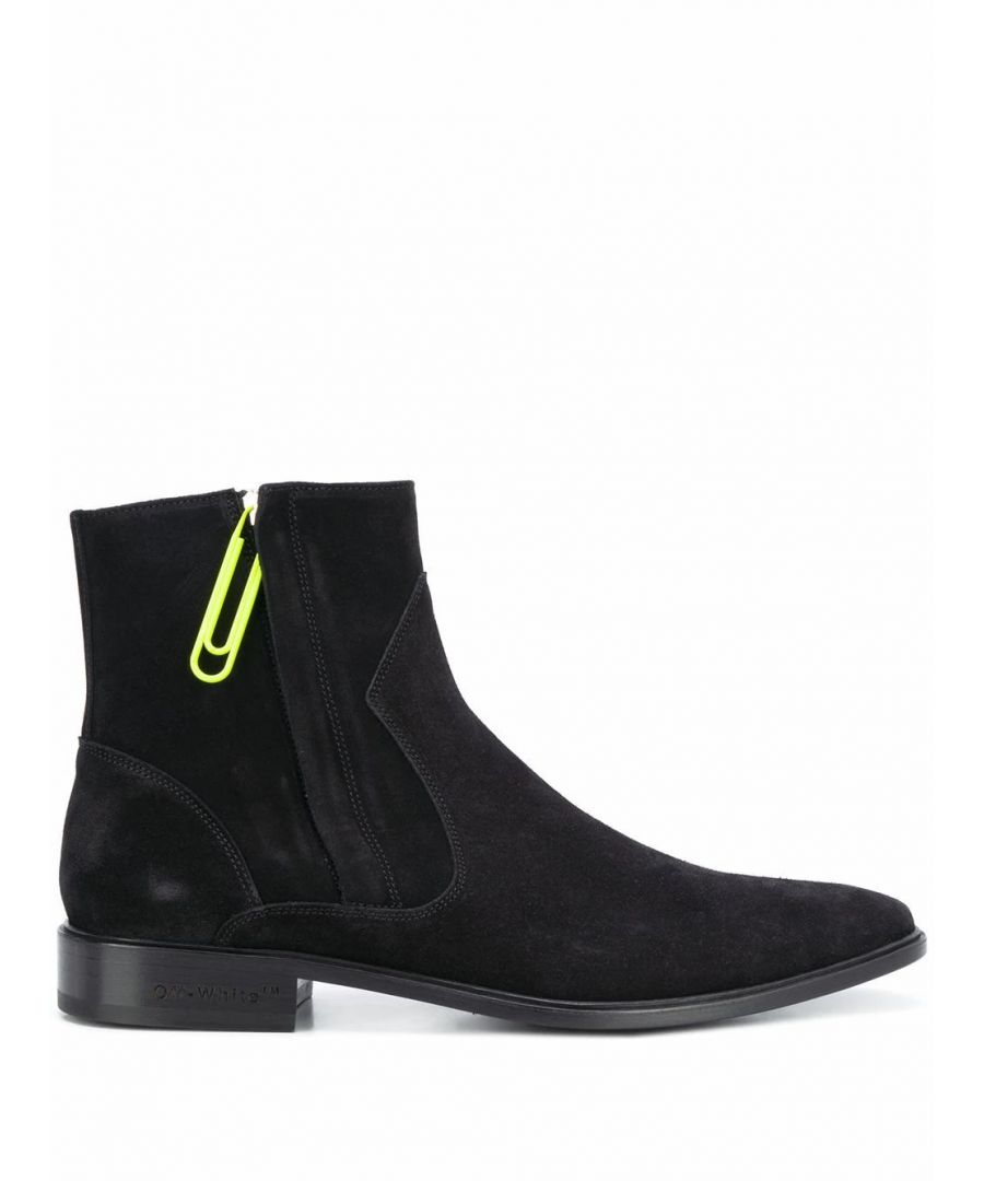 Image for OFF-WHITE MEN'S OMIA167S207800201000 BLACK SUEDE ANKLE BOOTS
