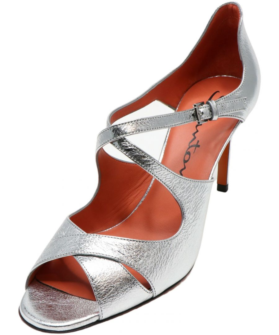 Image for Santoni Women's Ellie Silver Ankle-High Leather Heel - 8.5M