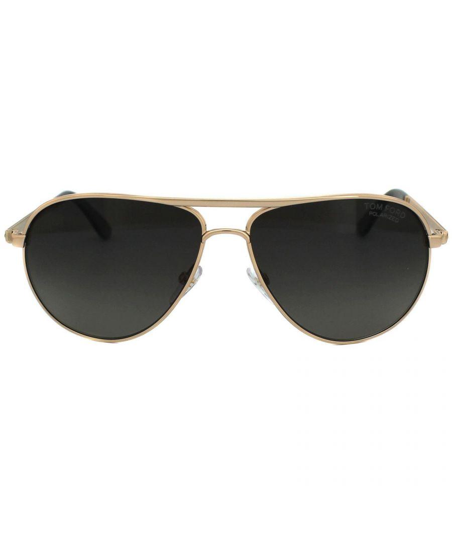 Image for Tom Ford Sunglasses 0144 Marko 28D Shiny Rose Gold Smoke Grey Polarized