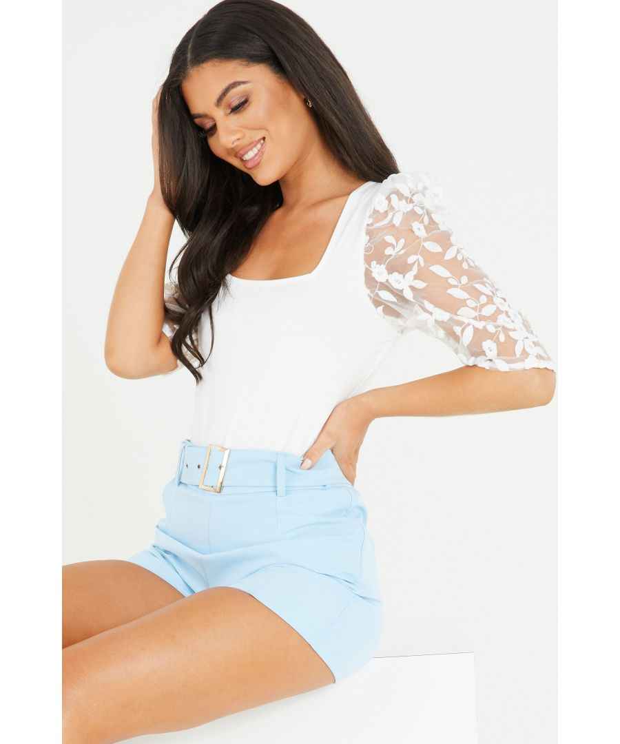 Image for Cream Organza Floral Sleeve Bodysuit
