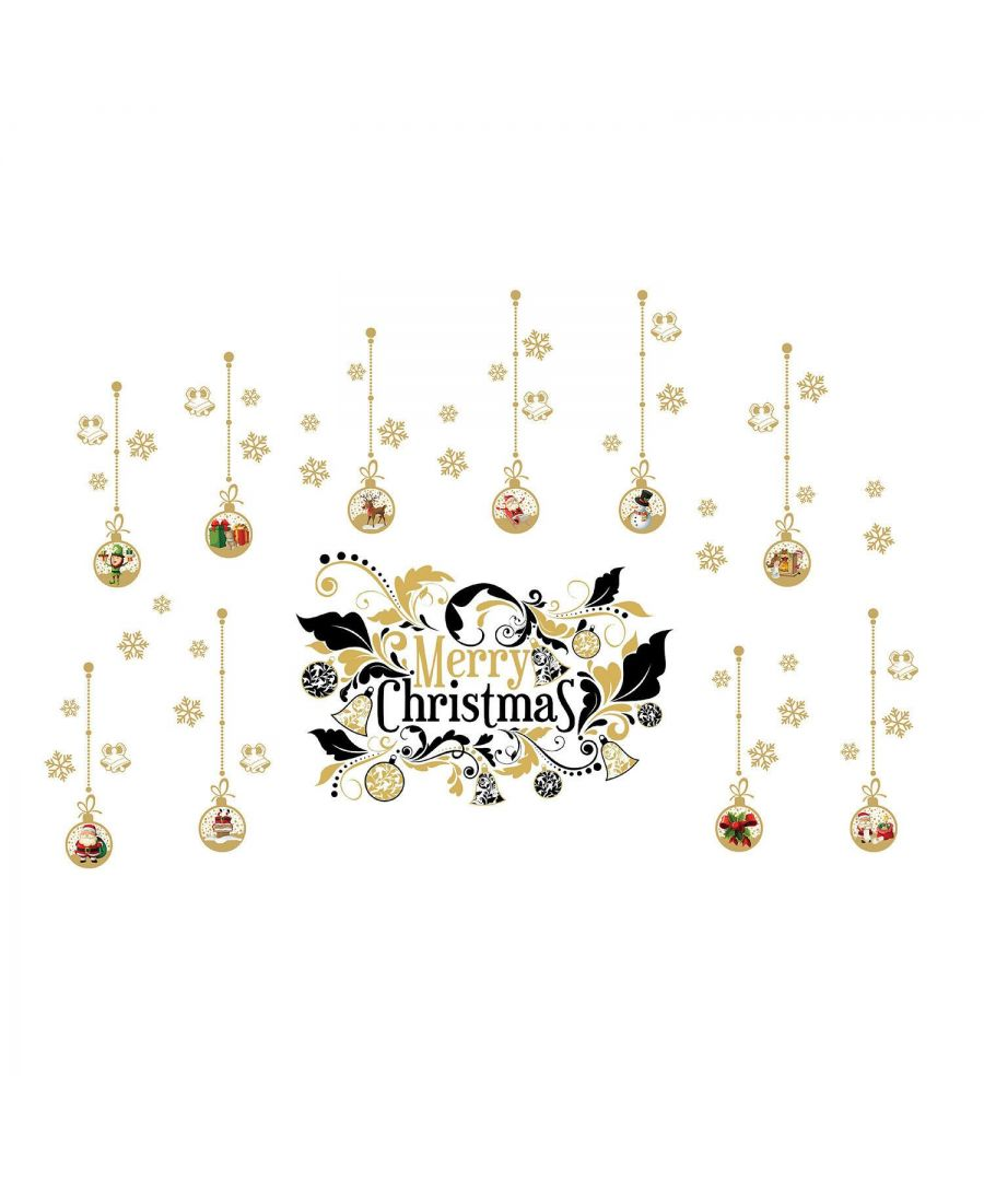 Image for WFXC8316 - WS4029 + WS6301 - Merry Christmas Ornaments Wall Stickers