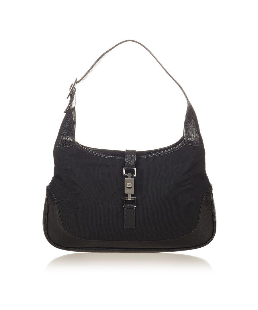 Image for Vintage Gucci Jackie Nylon Shoulder Bag Black