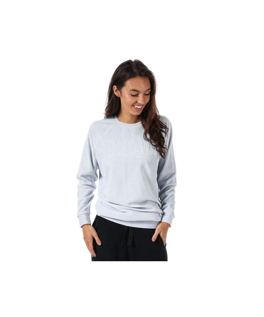 Image for Women's Puma Velour Crew Sweatshirt in Light Blue
