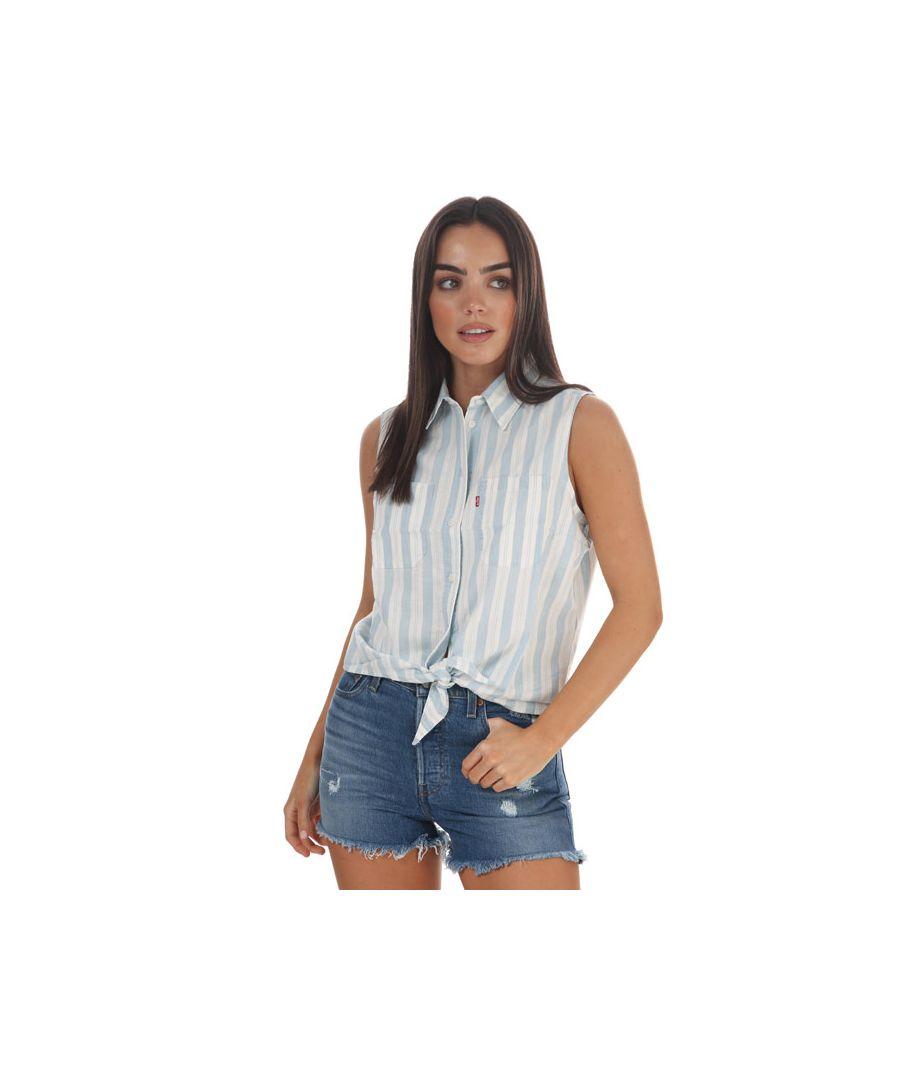Image for Women's Levis Alina Sleeveless Shirt Blue-White 6in Blue-White