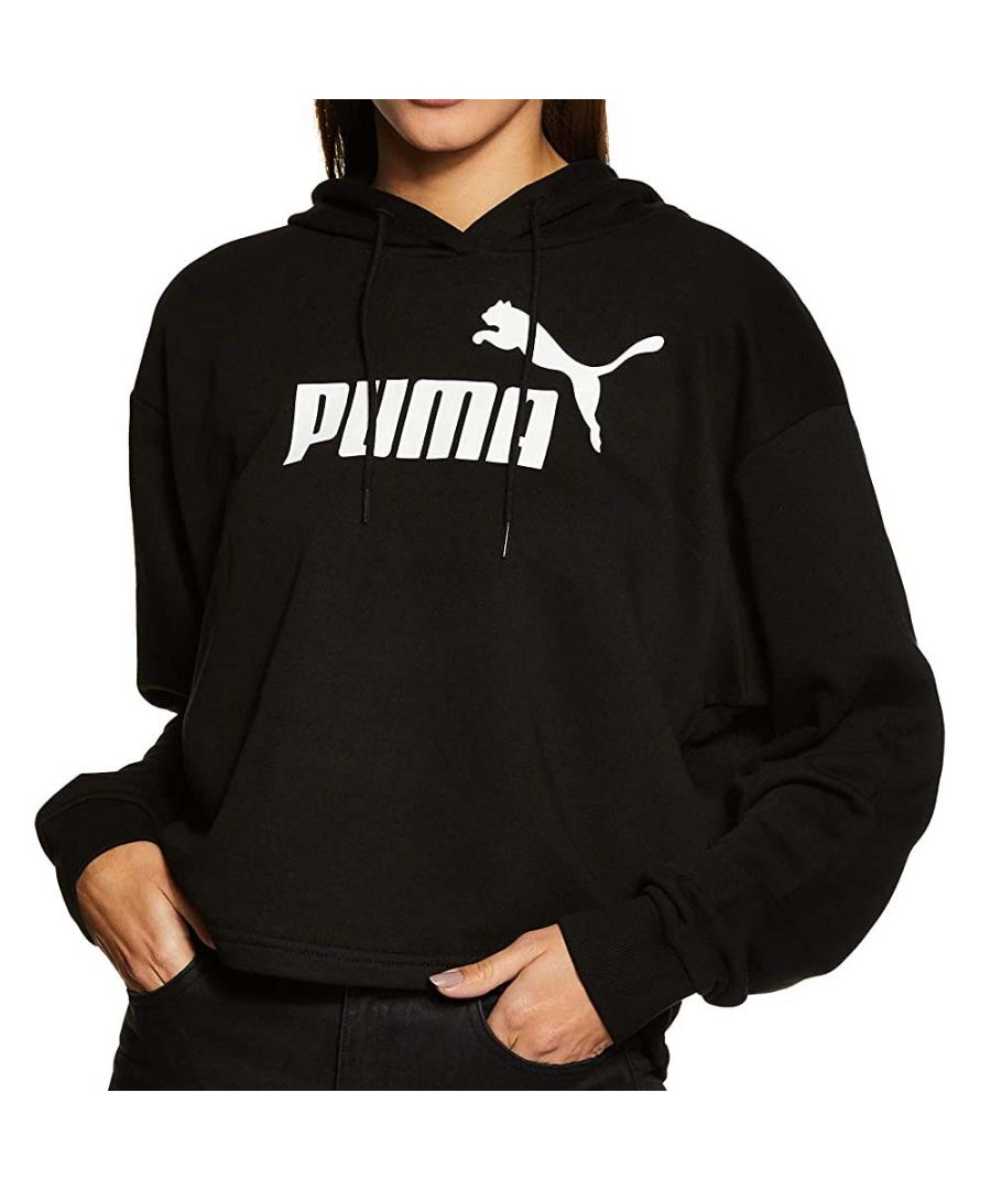 Image for Puma Essentials+ Logo Cropped Womens Over Head Hoodie Black - S