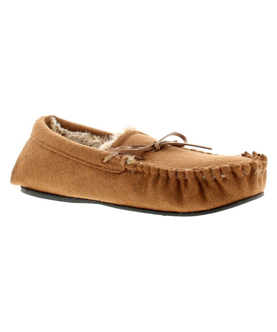 Image for Mens Moccasin Slipper With Fur Lining