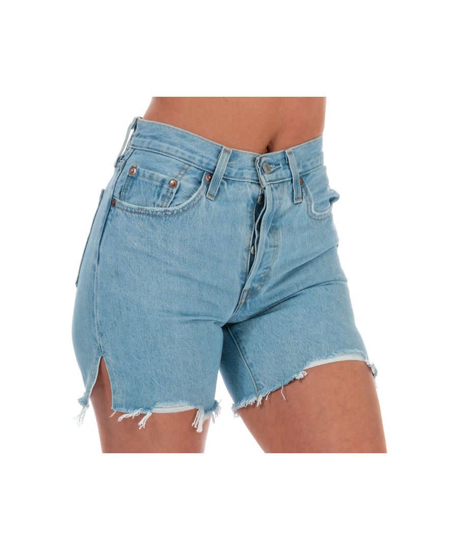 Image for Women's Levis 501 Mid Thigh Shorts Light Blue 26 inchin Light Blue
