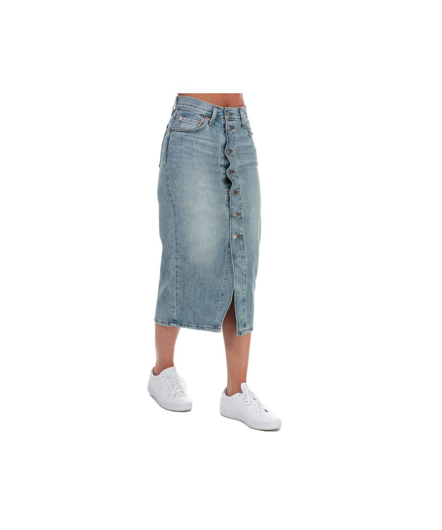 Image for Women's Levis Button Front Midi Skirt in Denim