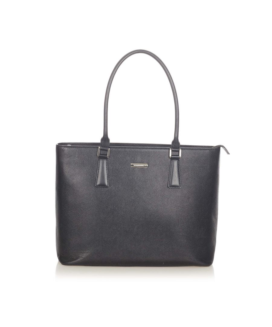 Image for Vintage Burberry Leather Tote Bag Black