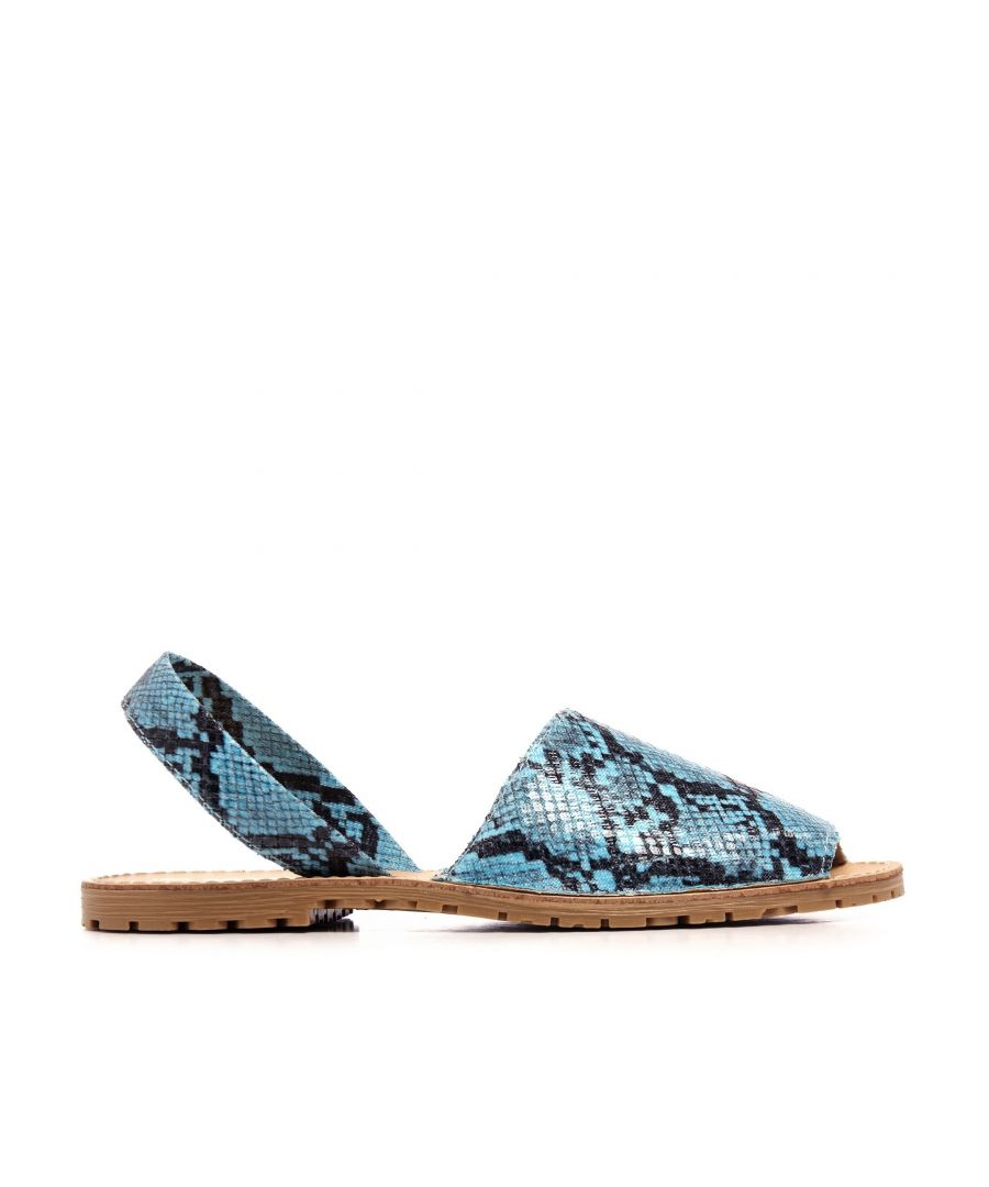 Image for Classic Leather Sandal Menorquina for Women Blue Fluor snake. Maria Barcelo