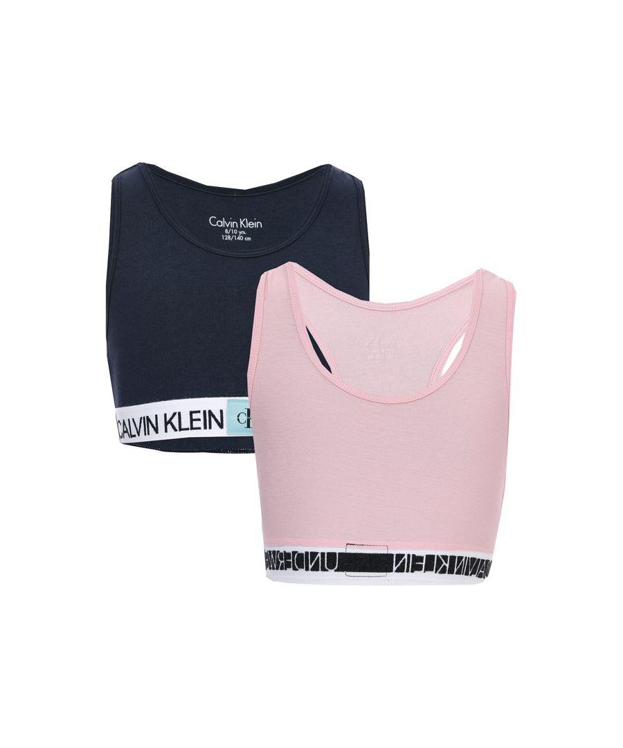 Image for Girl's Calvin Klein Junior 2 Pack Bralettes in Navy Pink